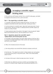 Arranging a scientific report Briefing sheet - National STEM Centre