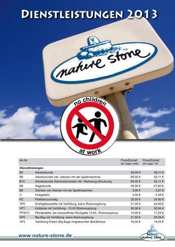 Dienstleistungen 2013 - Rössle Bau- und Natursteine AG