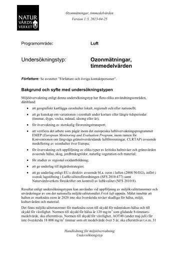 Ozonmätningar, timmedelvärden (pdf 69 kB ... - Naturvårdsverket