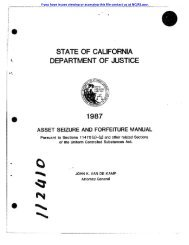 STATE OF CALIFORNIA DEPARTMENT OF JUSTICE ~ - National ...