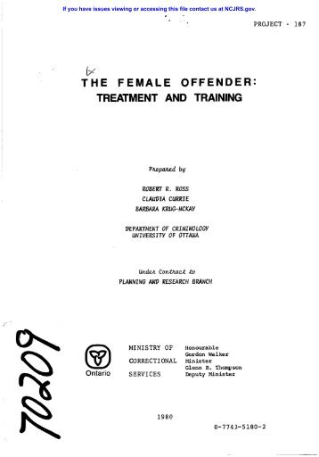 the female offender - National Criminal Justice Reference Service