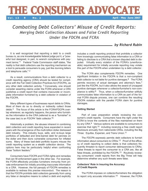 Combating Debt Collectors' Misuse of Credit Reports - National .
