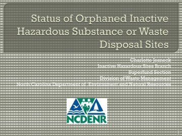 of Orphaned Inactive Hazardous Substance or Waste Disposal Sites