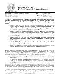 Bill Draft 2013-RBx-4: UI Fund Solvency & Program Changes.