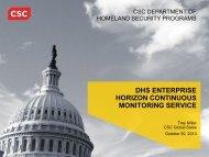 dhs enterprise horizon continuous monitoring service