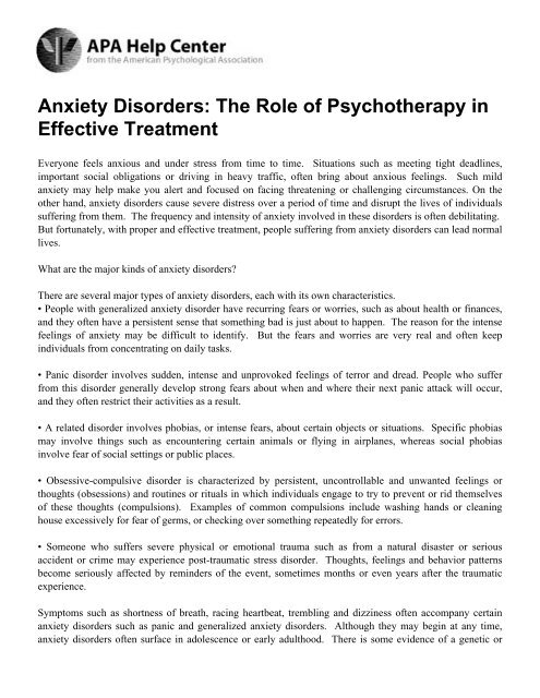 Psychotherapy anxiety