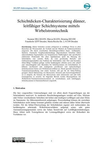 Schichtdicken-Charakterisierung dünner, leitfähiger ... - NDT.net