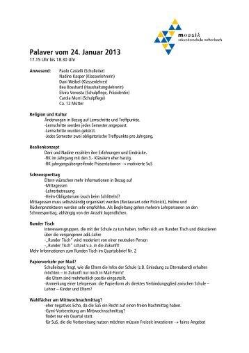 Palaver vom 24. Januar 2013