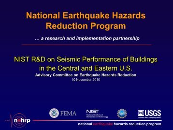 NIST R&D on Seismic Performance of Buildings in the Central and ...
