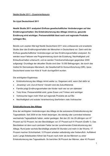 Zusammenfassung der Studie - Nestlé Deutschland AG