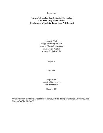 Report to CSI-3 - National Energy Technology Laboratory - U.S. ...