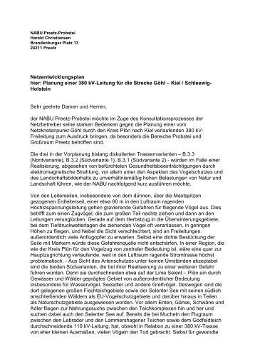 Planung einer 380 kV-Leitung für die Strecke Göhl – Kiel / Schleswig