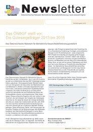 Sonderausgabe Newsletter 2013 - Österreichisches Netzwerk ...