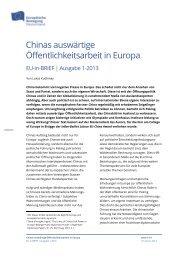 Chinas auswärtige Öffentlichkeitsarbeit in Europa - Netzwerk ...
