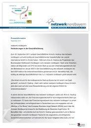 PM Veränderungen in der Geschäftsführung - Netzwerk Nordbayern