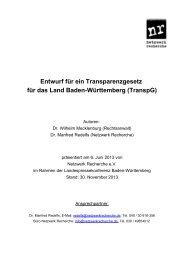 Transparenzgesetz Baden-Württemberg - Netzwerk Recherche
