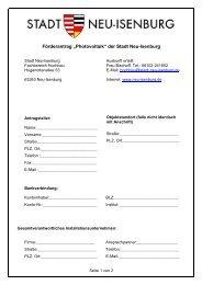 "Förderantrag ""Photovoltaik"" der Stadt Neu-Isenburg"