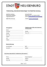 """Förderantrag """"thermische Solaranlagen"""" der Stadt Neu-Isenburg"""
