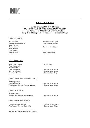 Einladung und Tagesordnung - in Neukirchen Vluyn