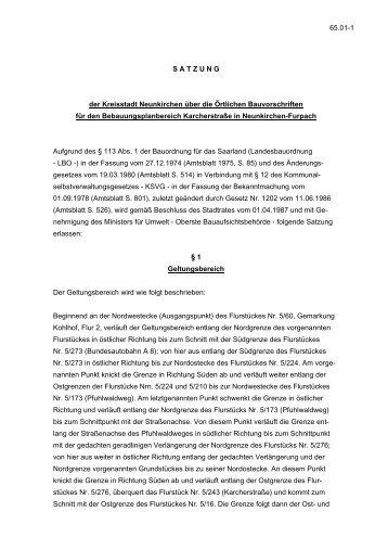 für den Bebauungsplanbereich Karcherstraße in Neunkirchen ...