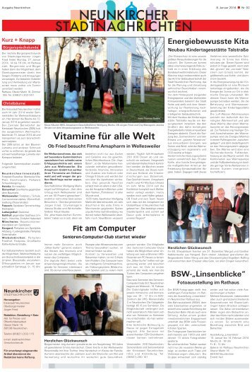 Neunkircher Stadtnachrichten 2014 KW-02 - Kreisstadt Neunkirchen