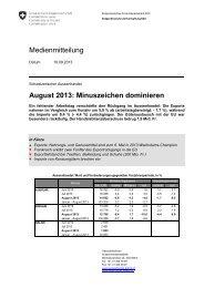 Medienmitteilung August 2013: Minuszeichen dominieren - admin.ch