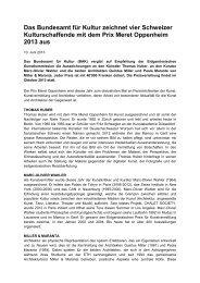 Prix Meret Oppenheim 2013 - admin.ch