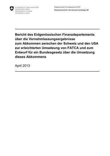 Vernehmlassungsbericht FATCA