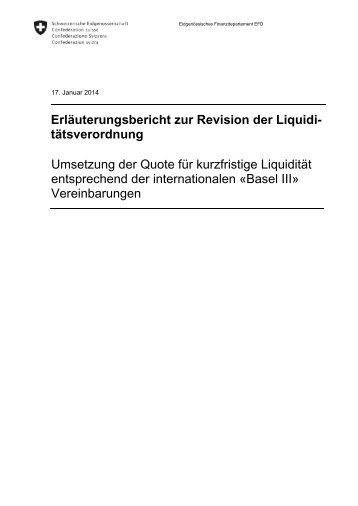 Erläuterungsbericht zur Revision der Liquidi ... - admin.ch