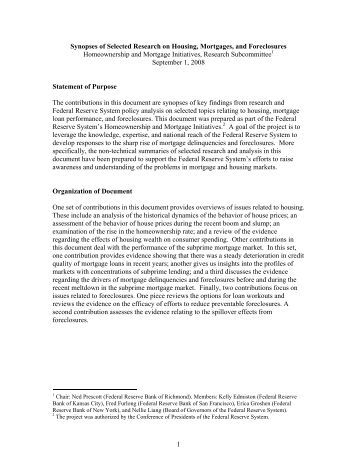 Synopses of Selected Research on Housing, Mortgages - Federal ...