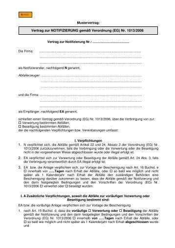 Vertrag zur NOTIFIZIERUNG gemäß Verordnung (EG) Nr ... - NGS