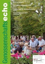 In dieser Ausgabe: Vertreterversammlung 2008 Seite 2 ... - 'Erfurt' eG