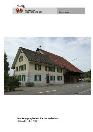 Benützungsreglement - Gemeinde Niederrohrdorf