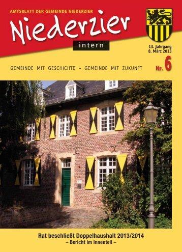 Rat beschließt Doppelhaushalt 2013/2014 - Gemeinde Niederzier
