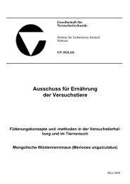Planung und Struktur von Versuchstierbereichen tierexperimentell tätiger Institutionen.