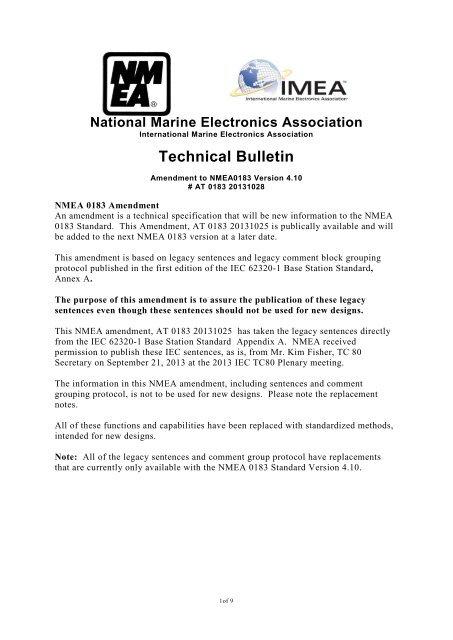 NMEA Publishing IEC 62320-1 Legacy 0183 Sentences