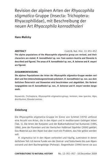 Revision der alpinen Arten der Rhyacophila stigmatica-Gruppe ...
