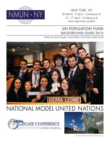 UNFPA Background Guide - National Model United Nations