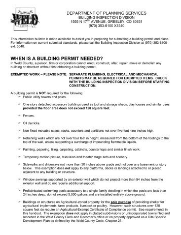 WHEN IS A BUILDING PERMIT NEEDED? - Weld County