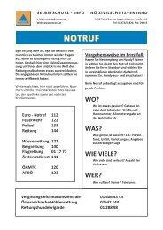 Merkblatt Notruf und Notrufnummern (pdf) - NÖ Zivilschutzverband
