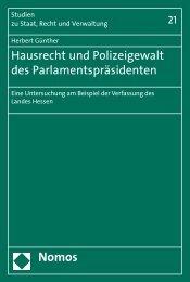 Hausrecht und Polizeigewalt des ... - Nomos Shop