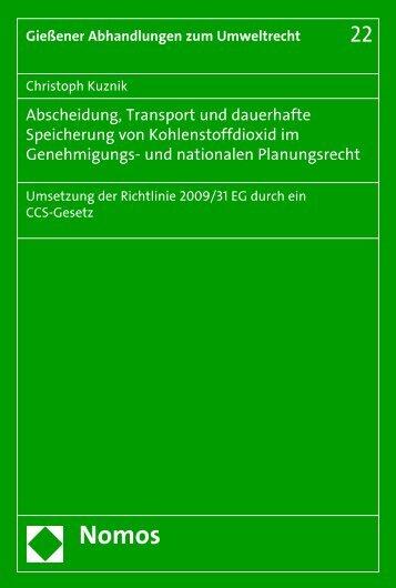 Abscheidung, Transport und dauerhafte Speicherung von ...