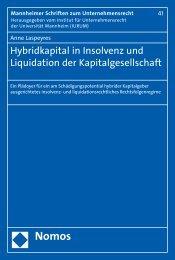 Hybridkapital in Insolvenz und Liquidation der ... - Nomos Shop