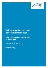 Begründung zum Bebauungsplan - Stadt Nordhausen