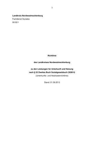Kosten für Unterkunft und Heizung - Landkreis Nordwestmecklenburg