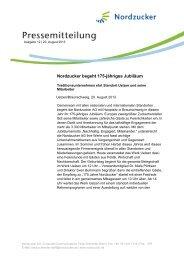 Nordzucker begeht 175-jähriges Jubiläum - Nordzucker AG