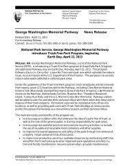 George Washington Memorial Parkway News Release