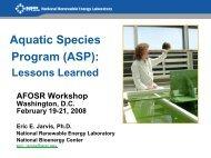 Aquatic Species Program: Lessons Learned - NREL