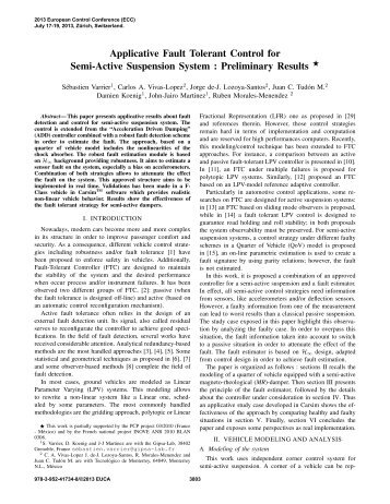 Applicative Fault Tolerant Control for Semi-Active Suspension System