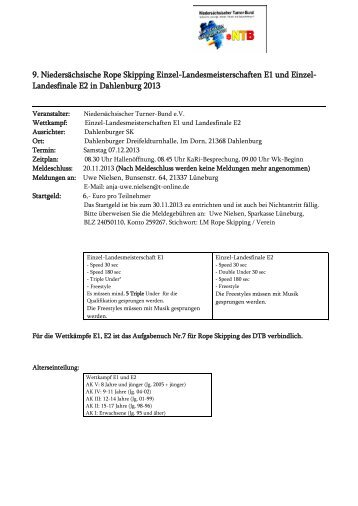Ausschreibung 3. Nds. Landeseinzelmeisterschaften - NTB